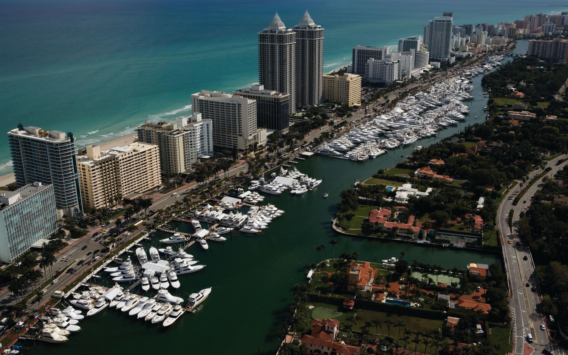 Картинки Майами, яхты, дома, море, пальмы фото и обои на рабочий стол
