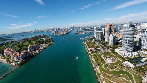 Майами, город, океан, небо
