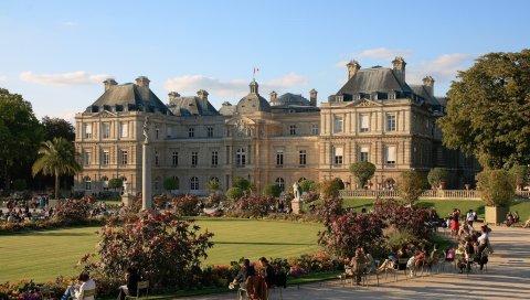Люксембургский дворец, париж, франция, дворец, люди, парк, скульптура