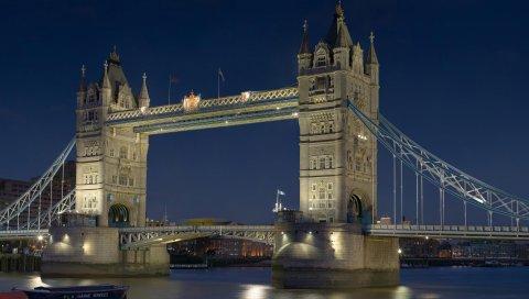 Лондон, англия, мост башни, uk, thames, ночь, город, лодка, река, столицы