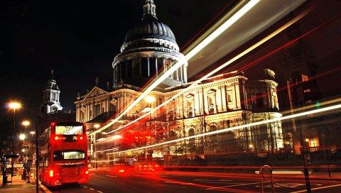 Лондон, город, автобус, ночь