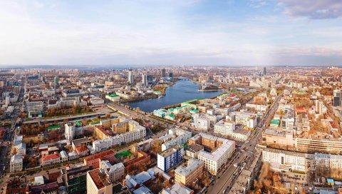 Екатеринбург, панорама, город, улица, Карл Либкнехт, проспект Ленина, река Исеть, дома, мост, Россия, мегаполис, урал