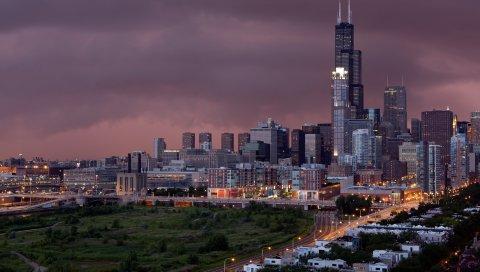 города, здания, дома, дороги, свет, небо, шторм , облака, трава, деревья ,
