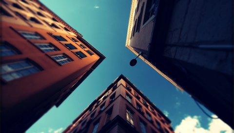 город, дома, небо