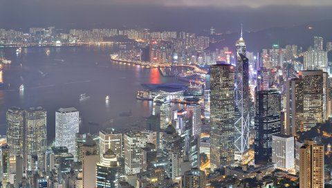 Гонконгом, небоскребы, ночь, свет, строительство