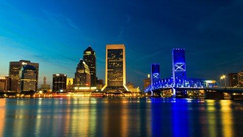 США, Джексонвилле, штат Флорида, мост, город, ночь