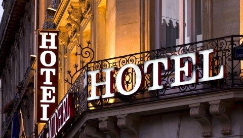 гостиница, балкон, крыльцо, окно, город