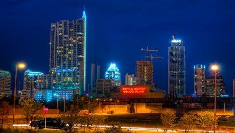 Остин, Техас, небоскребы, здание, ночь
