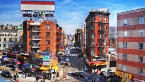 Нью Йорк, США, здание, транспорт, люди, автомобили, тщеславие, HDR