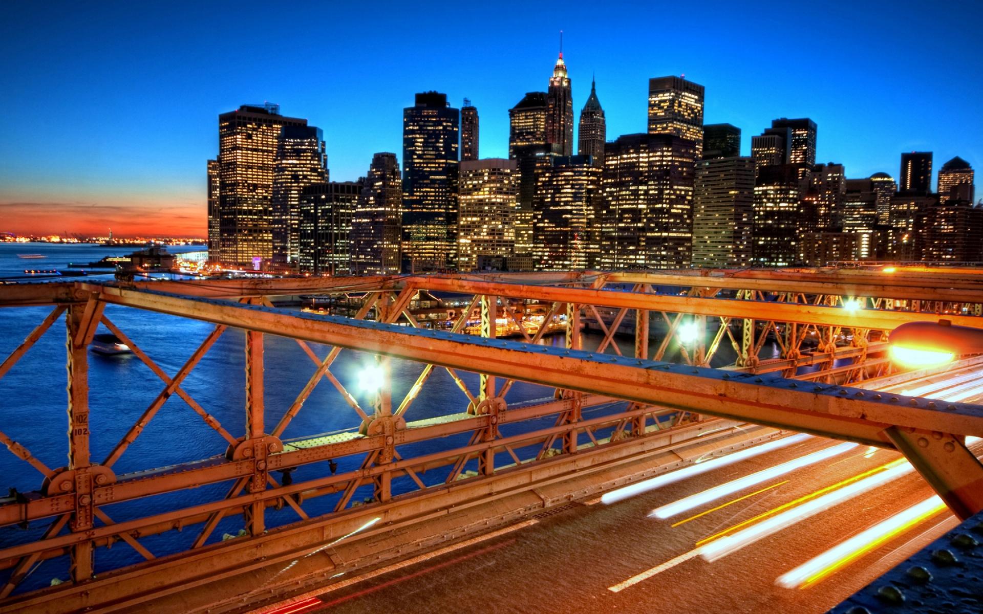 Картинки нью -йорк, закат, мост, небоскребы фото и обои на рабочий стол
