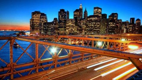 нью -йорк, закат, мост, небоскребы