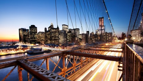 Нью -Йорка, закат, мост, небоскребы,