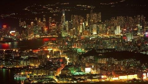Метрополия, город, ночь, здание