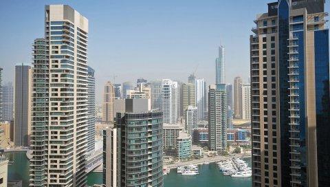 Дубай, небоскребы, башни, дома, уай, яхты, небо