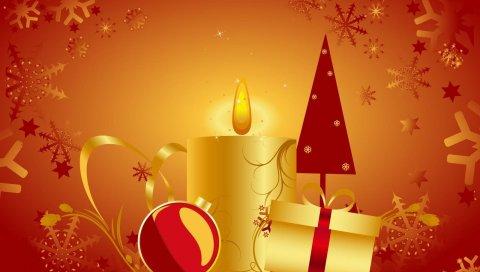 Свеча, новогодняя елка, подарки, рождественские украшения, снежинки