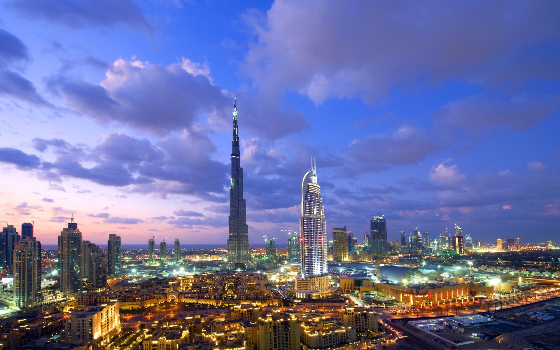 Картинки Дубай, здание, вид сверху, вид, городские огни фото и обои на рабочий стол