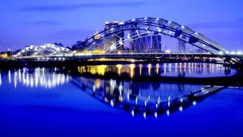Город, ночь, огни, мост, отражение