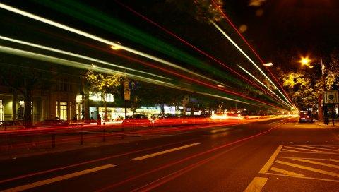 Берлин, германия, ночь, движение, улица