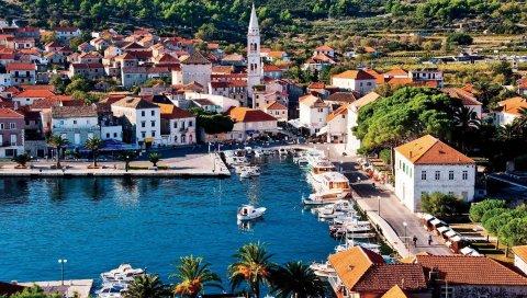 Хорватия, хвар, пирс, набережная, джадран, отдых