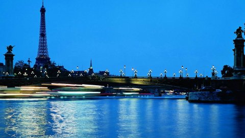 Париж, Франция, Эйфелева башня, мост, вода, голубое небо, вечер, огни, ночной город