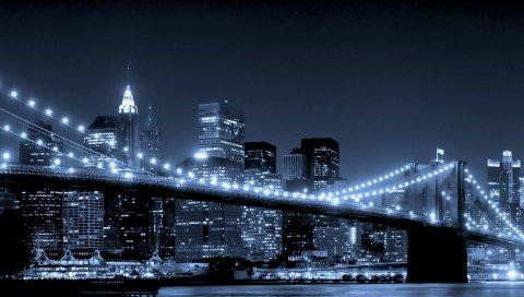 Мост, город, река, огни