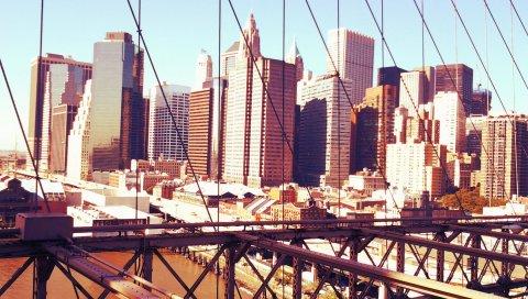 Манхэттен, Нью-Йорк, небоскребы, мост, строительство