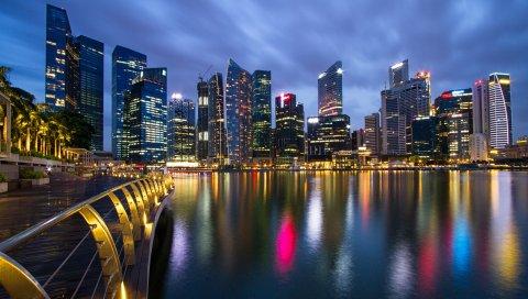Малайзия, сингапур, город-государство, мегаполис, небоскребы, ночь, свет, голубой, небо, мост, набережная, разлив