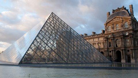 Лужа, париж, франция, пирамида, стекло, музей, площадь