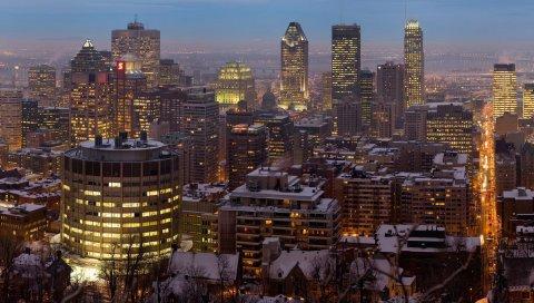 Канада, Монреаль, город, ночь, зима