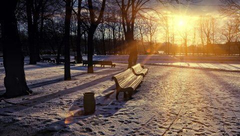 Зима, парк, закат, скамейка, снег, солнце