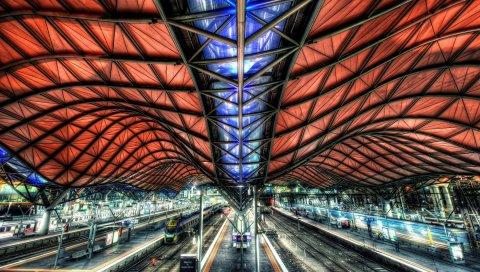 Станция, путь, платформа, крыша, строительство, hdr