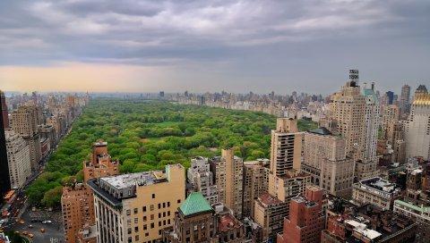 Центр Нью-Йорка, большой город, новый erc, Нью-Йорк, центральный парк в Нью-Йорке, дома, здания, деревья, город, облака, облачно, манхэттен
