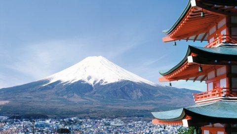 Fuji, Япония, город, сакура
