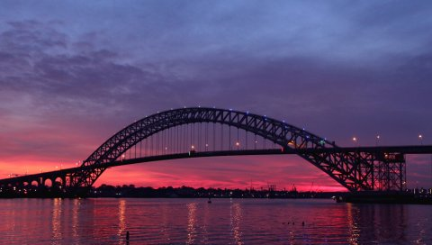 США, новый трикотаж, мост, огни, река, отражение, вечер, сумерки, закат, небо, облака