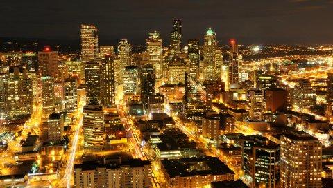 США, Вашингтон, Сиэтл, ночной город, небоскребы, здания, огни