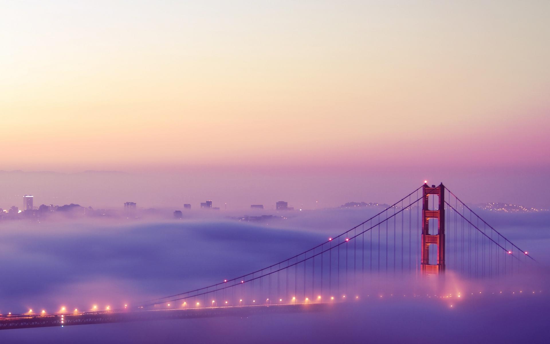 Картинки Сан-Франциско, туман, огни, мост фото и обои на рабочий стол