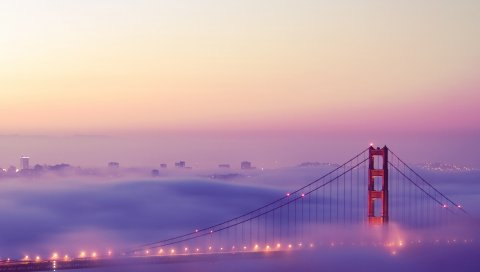 Сан-Франциско, туман, огни, мост