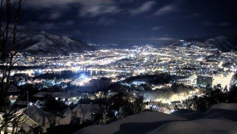 Ночь, снег, высота, город, зима
