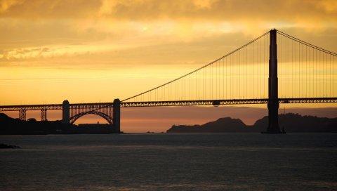 Сан-Франциско, мост, море, ночь