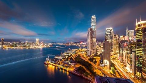 Hong kong, небоскребы, здания, бухта, огни, небо, вечер, мегаполис