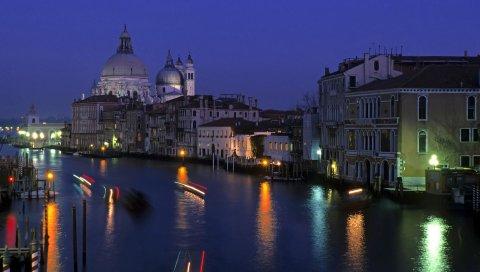 Город, венеция, город на воде, италия, свет, яркий, свет, ночь, ночь город, вода, освещение, дом, здание, строительство, архитектура, купол