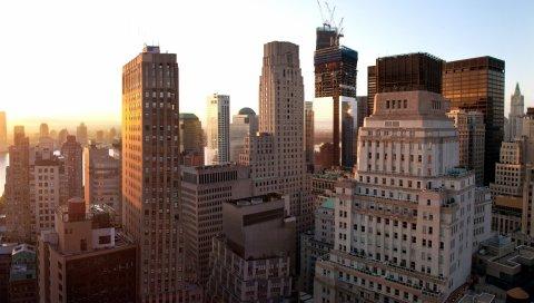 Нью-Йорк, закат, здания, небоскребы
