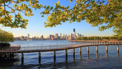Нью-Йорк, город, вода, океан, природа, деревья, ветки, день, мост, река Хадсон, hoboken, новый трикотаж, Манхэттен, во-первых, центр мировой торговли, пристань