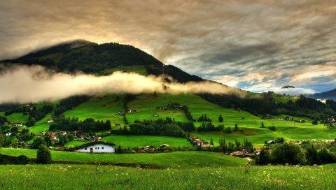 Холмы, горы, дом, поселение, ярко, лето, зеленый, облака, высота