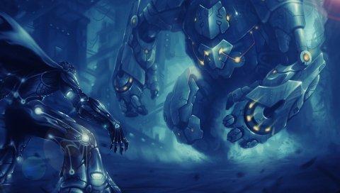 Роботы, киборги, битва, схватка