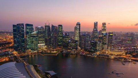 сингапур, закат, река, здание, небоскребы
