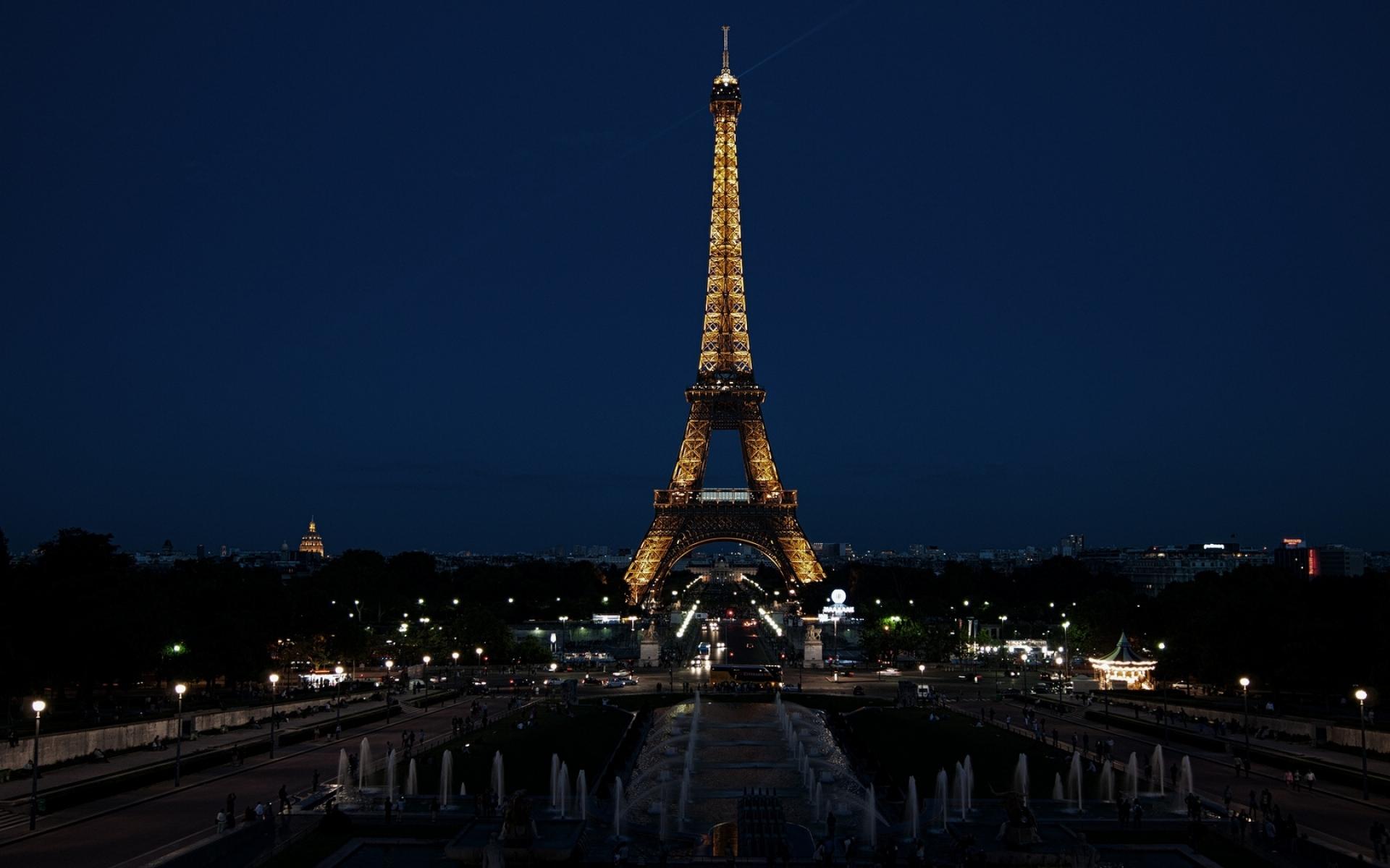 Картинки Париж, Франция, Эйфелева башня, город, ночь, огни фото и обои на рабочий стол