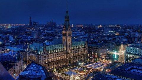 Гамбург, Германия, Ратуша, ночной город,
