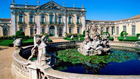 архитектура, Португалия, город, фонтан, здание