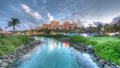Багамские острова, остров, пейзаж, скалы, трава, дерево, вода, небо, облака, здания, HDR